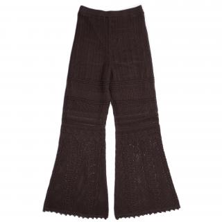 AMYER - Crochet Knit Pants(Brown)