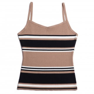 AMYER - Rib Knit Camisole(Beige × Black)<img class='new_mark_img2' src='https://img.shop-pro.jp/img/new/icons20.gif' style='border:none;display:inline;margin:0px;padding:0px;width:auto;' />