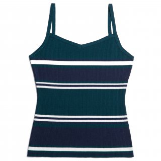 AMYER - Rib Knit Camisole(Green × Navy)<img class='new_mark_img2' src='https://img.shop-pro.jp/img/new/icons20.gif' style='border:none;display:inline;margin:0px;padding:0px;width:auto;' />