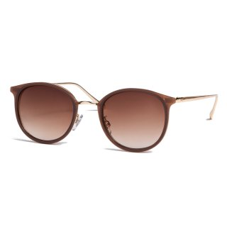 AMYER - Gold Frame Brown Sunglasses