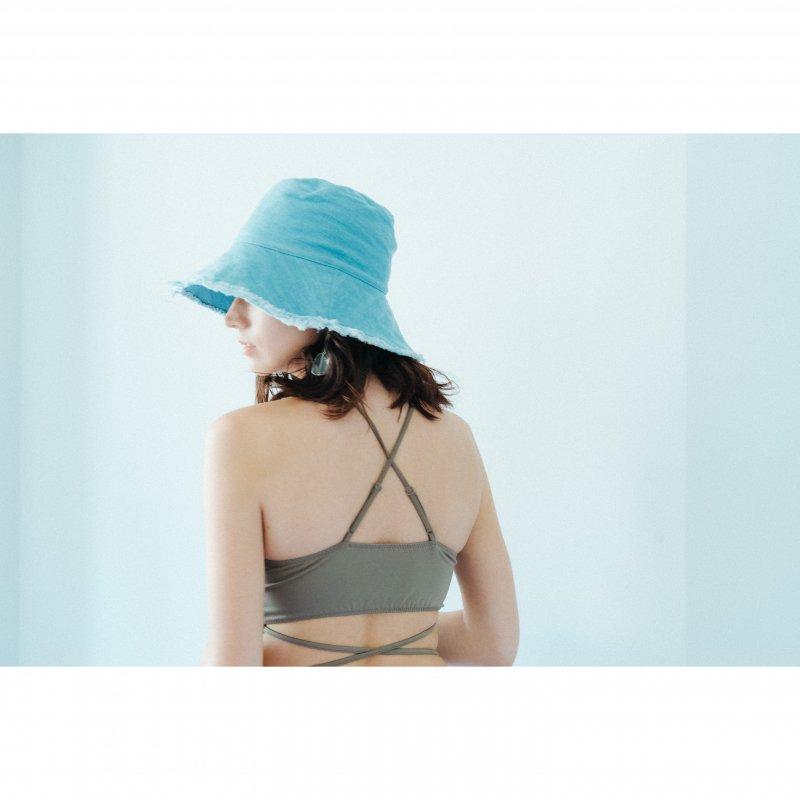 Fringe Denim Bucket Hat