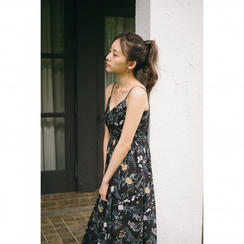 Flower Maxi Cami Dress(Black)