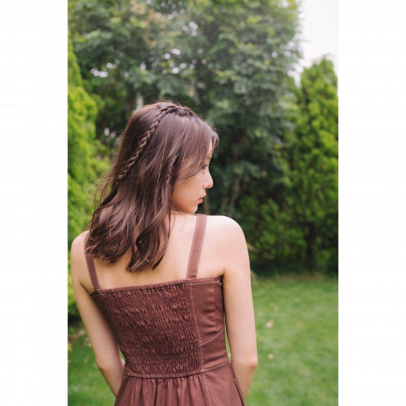 Linen Mix Jumper Skirt(Brown)