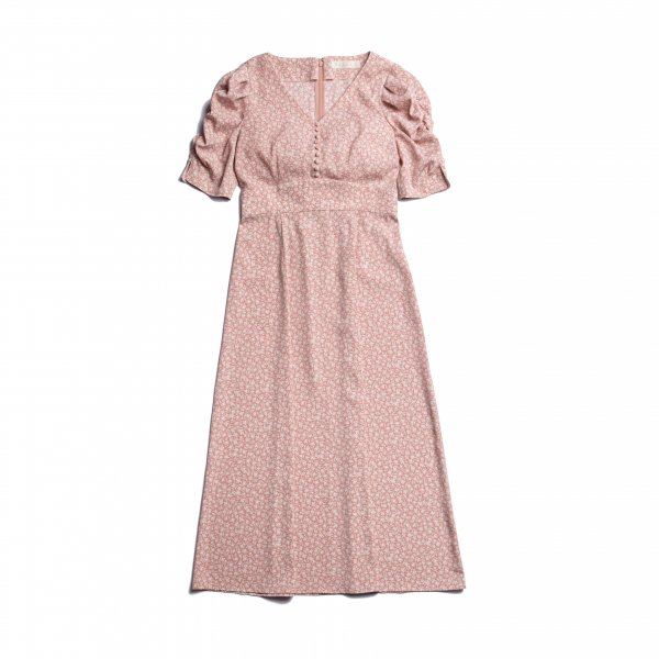 AMYER - Small Flower Gather Sleeve One-Piece(Pink)