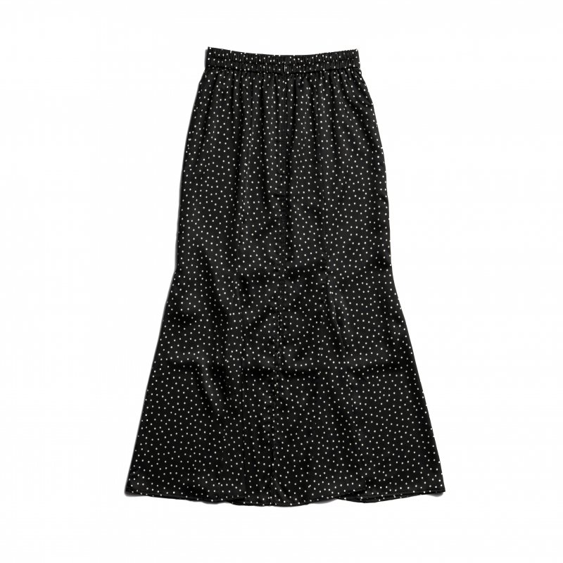 Dot Print Mermaid Skirt(Black)