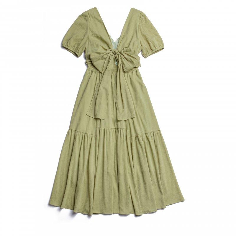 Back Ribbon Cotton Maxi Dress(Olive)