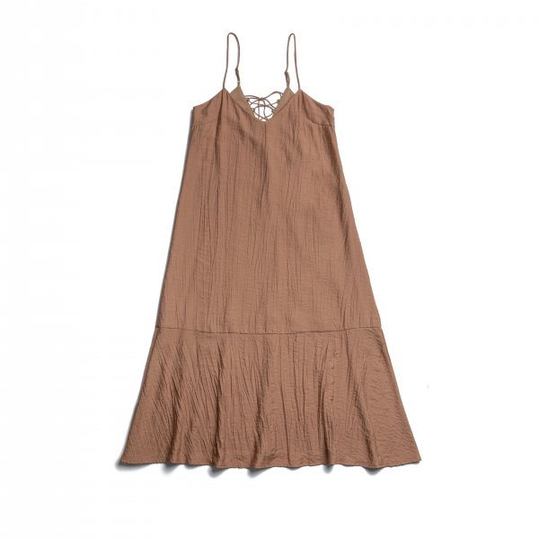 AMYER - Back Lace-Up Camisole One-Piece(Brown)