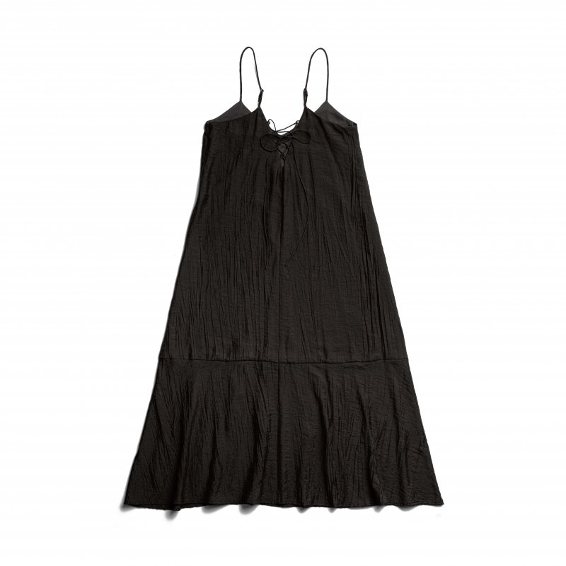 Back Lace-Up Camisole One-Piece(Black)