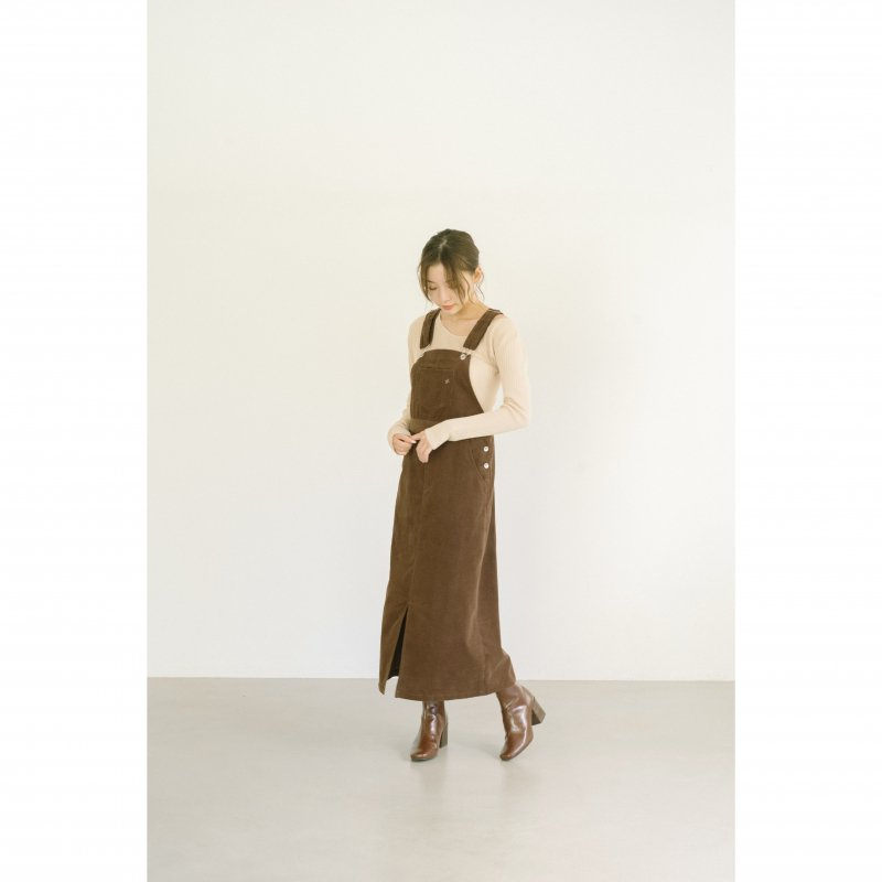 Corduroy Jumper Skirt(Brown)