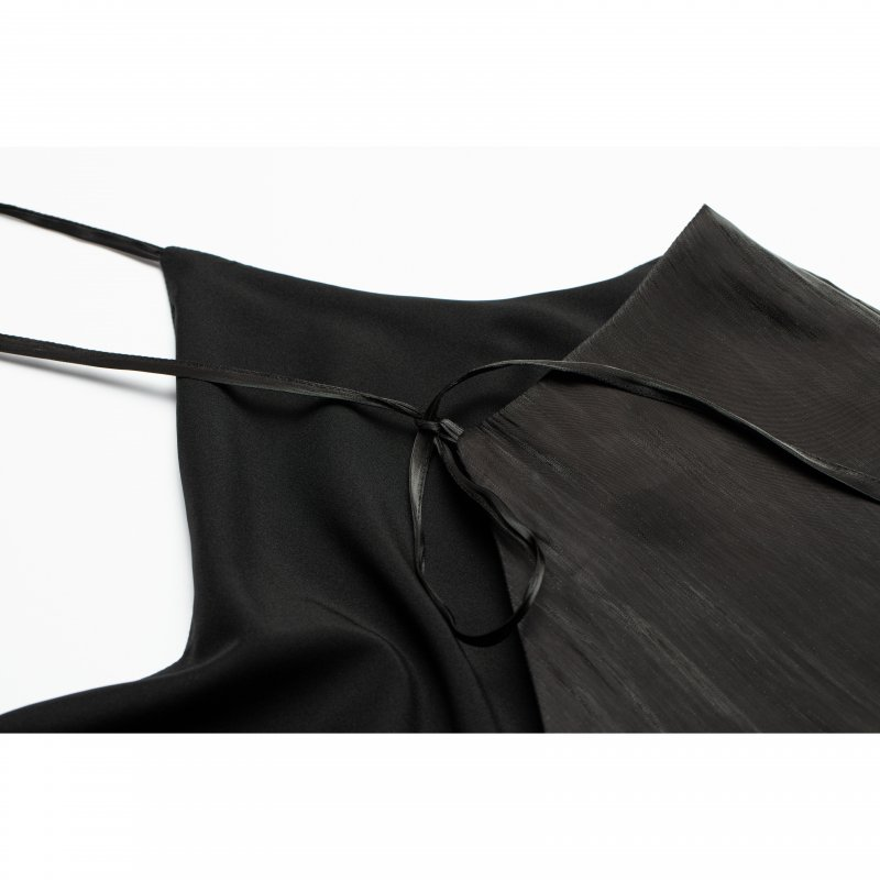 Shiny Satin Camisole One-piece(Black)