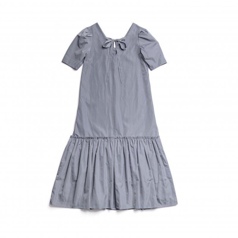 Back Ribbon Taffeta Maxi Dress(Blue)