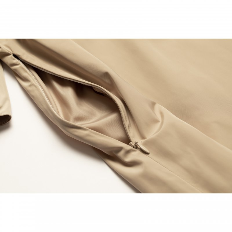 Back Ribbon Taffeta Maxi Dress(Beige)