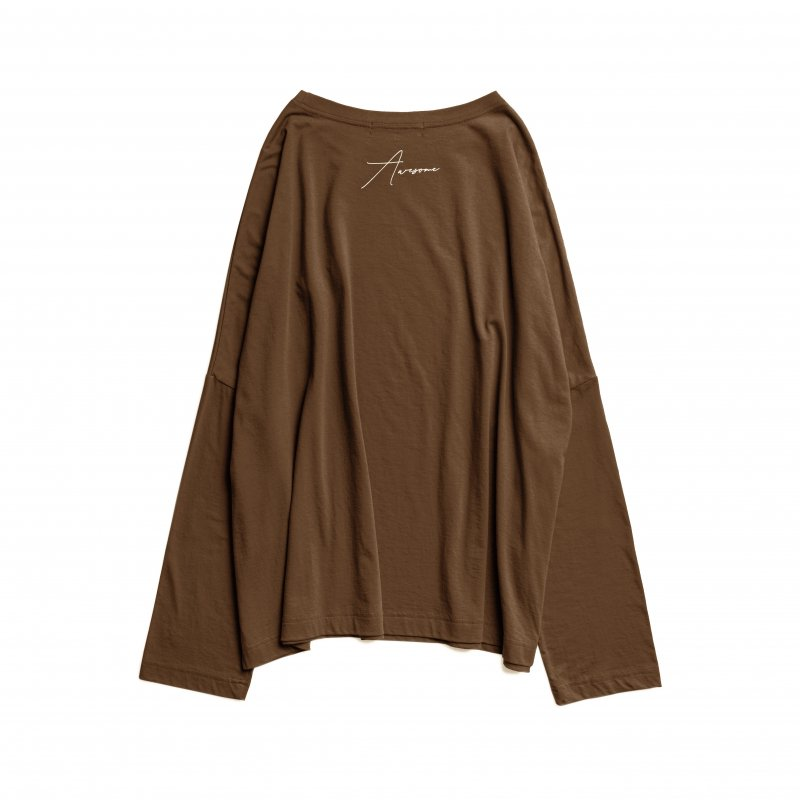 Embroidery Logo Long Sleeve TEE(Brown)