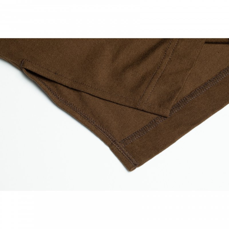 Embroidery Logo Long Sleeve TEE(Brown)