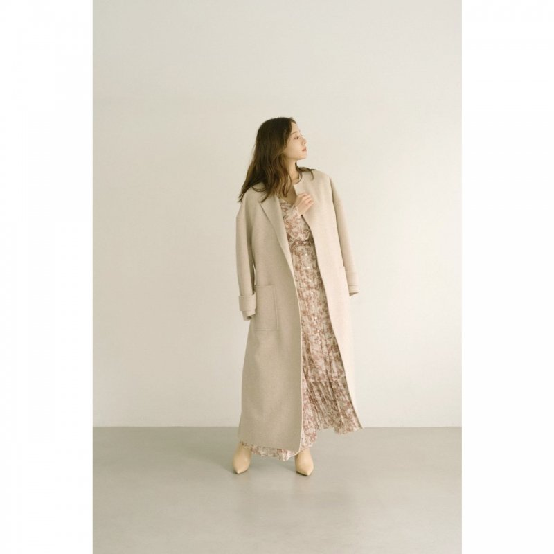 No Collar Gown Coat(Beige)