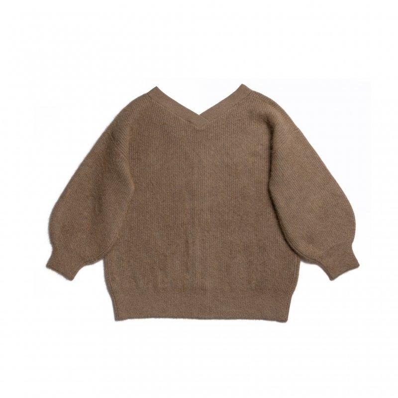 Fluffy Knit V-neck Cardigan(Brown)