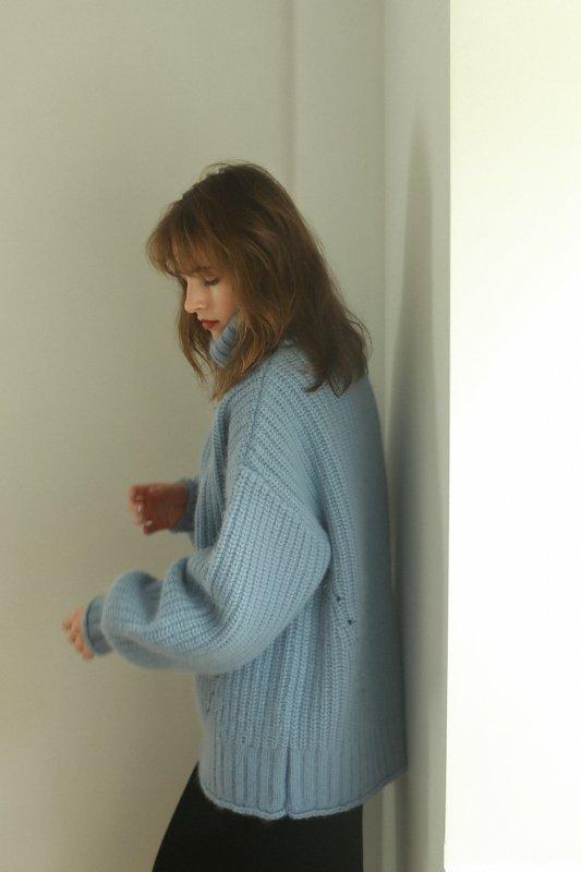 Big Turtleneck Knit Pullover(Blue)
