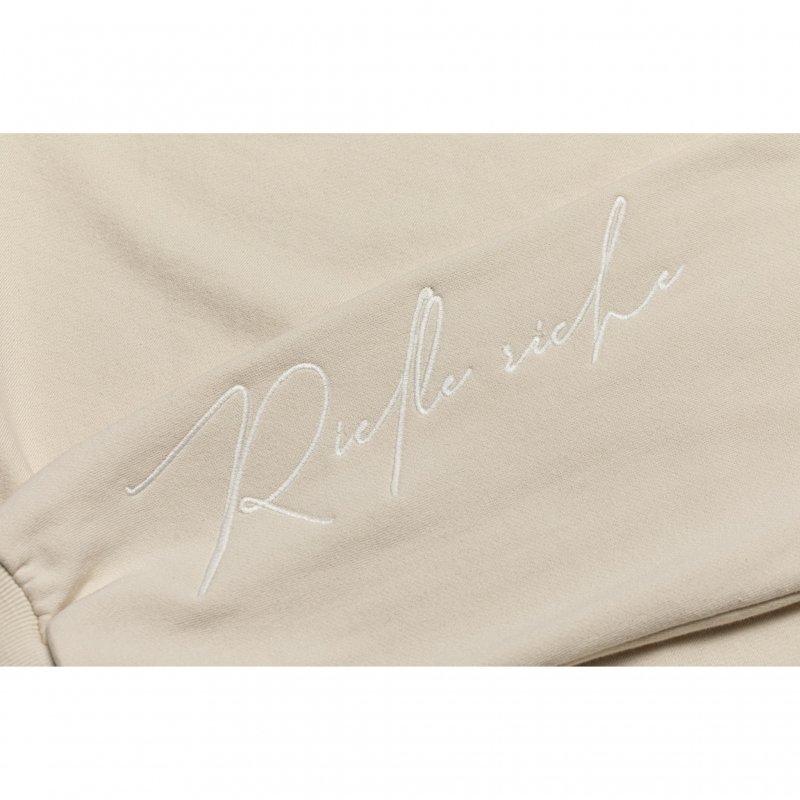 Embroidery Logo Sleeve Hoodie(Ivory)