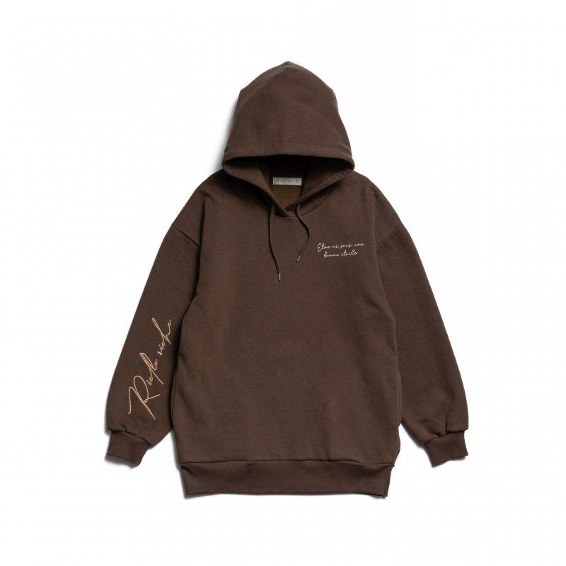 Embroidery Logo Sleeve Hoodie(Brown)