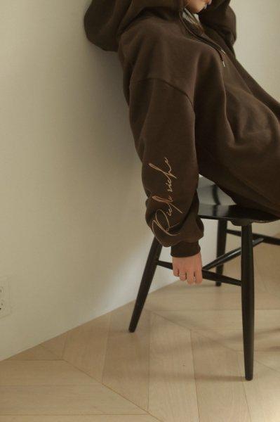 AMYER - Embroidery Logo Sleeve Hoodie(Brown)