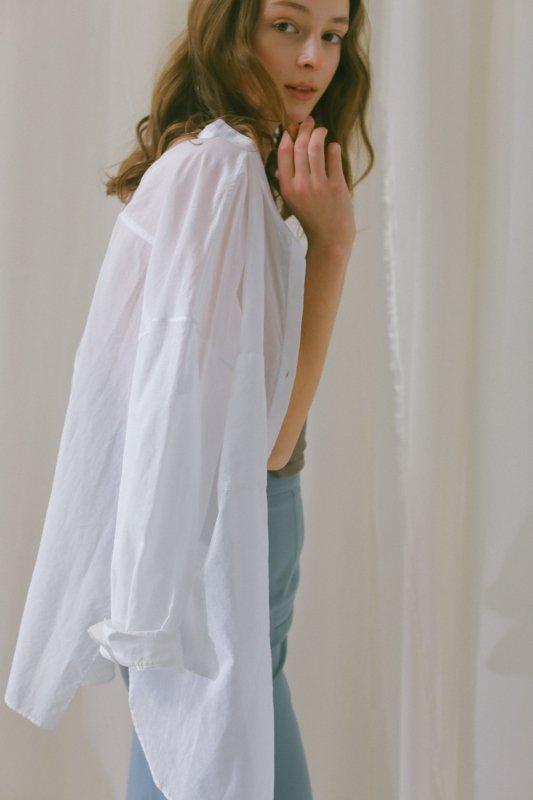 Cotton Voile Sheer Shirt(White)