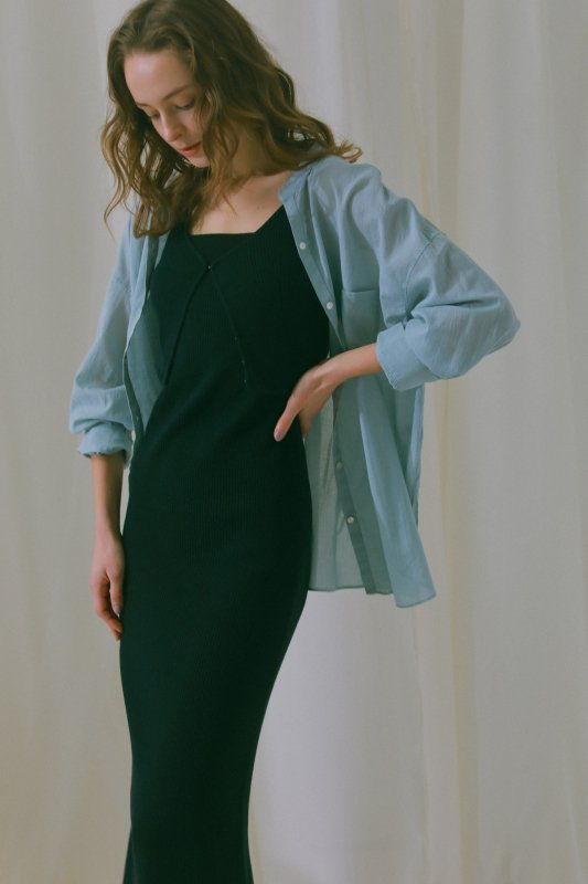 Cotton Voile Sheer Shirt(Saxe)