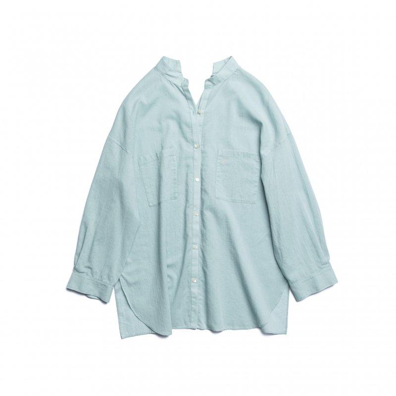 Cotton Voile Sheer Shirt(Saxe)
