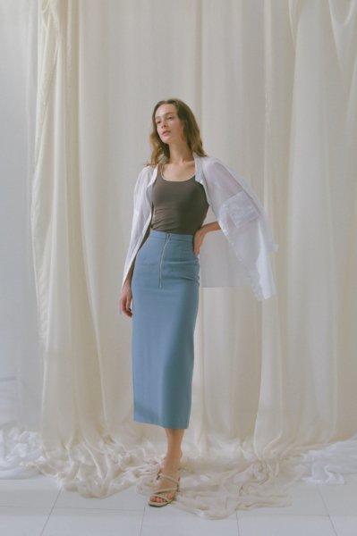 AMYER - Slit Tight Skirt(Saxe)