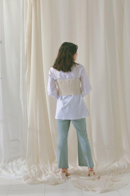 Knit Bustier Combi Blouse(Off-White)