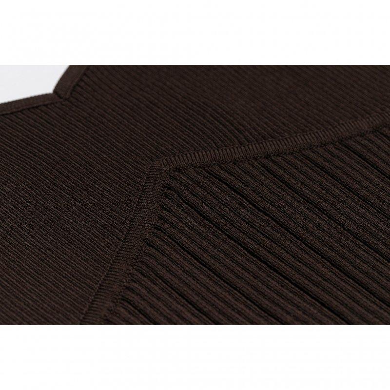 Knit Bustier Combi Blouse(Brown)