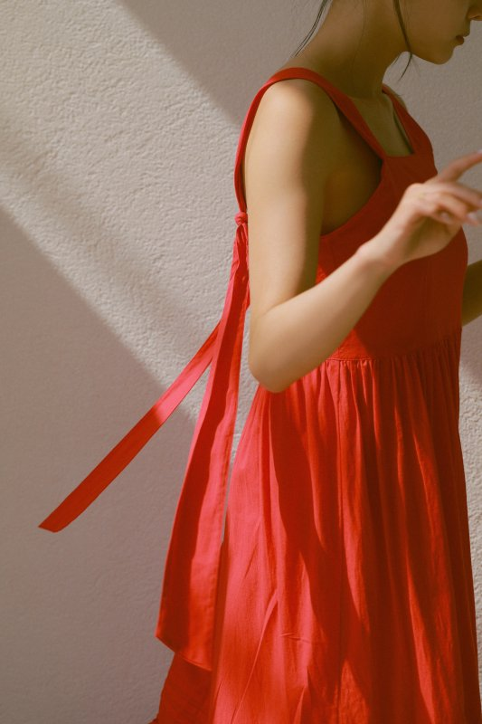 Long Ribbon Cami One-piece(Red)