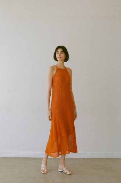 AMYER - Mesh Knit One-Piece(Orange)