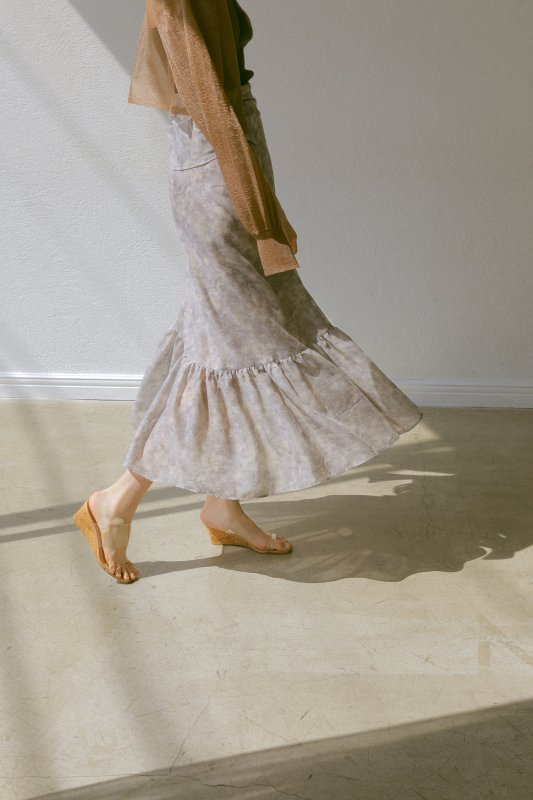 Watercolor Print Wrap Skirt(Gray)