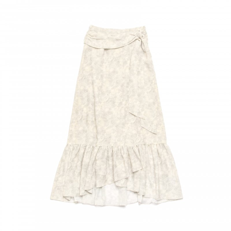 Watercolor Print Wrap Skirt(Beige)