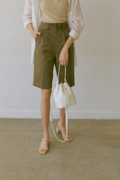 AMYER - Fake Leather 2way Bucket Bag(White)