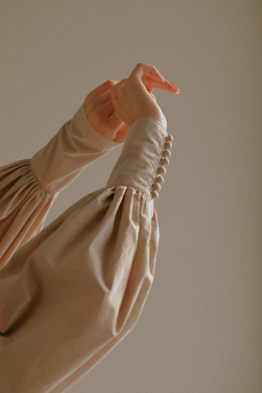 Balloon Sleeve One-Piece(Beige)