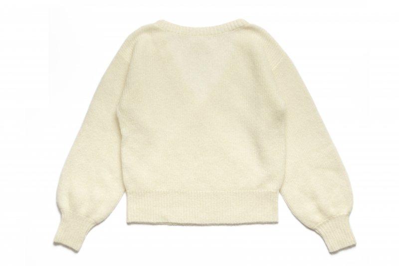 Back V-neck Knit Top(White)