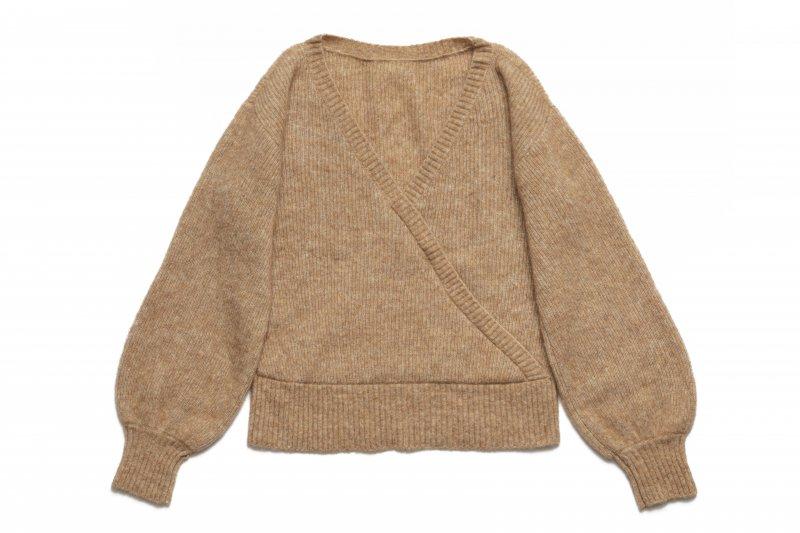 Back V-neck Knit Top(Brown)