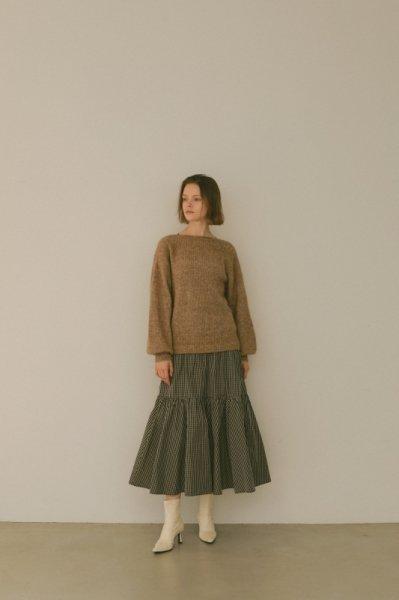 AMYER - Back V-neck Knit Top(Brown)