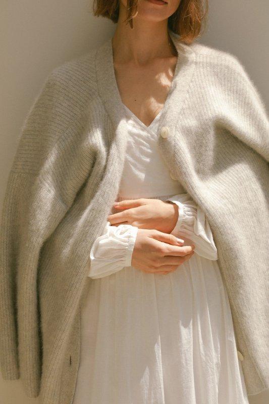 Fluffy Knit V-neck Cardigan(Gray)