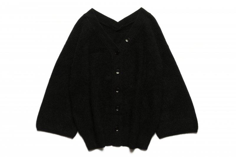 Fluffy Knit V-neck Cardigan(Black)