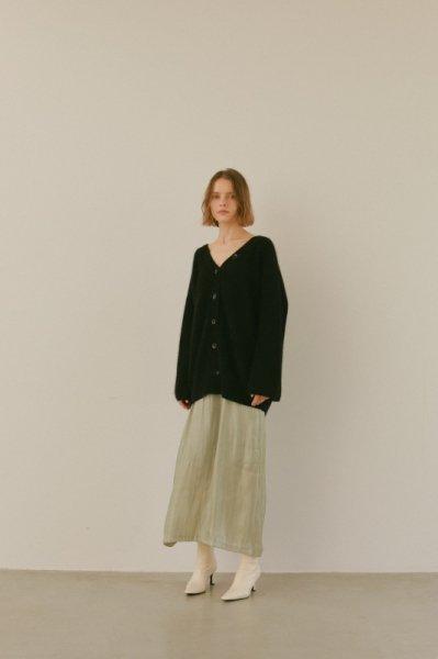 AMYER - Fluffy Knit V-neck Cardigan(Black)