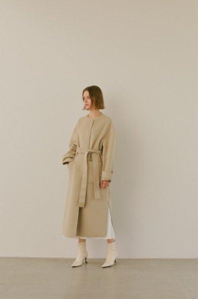 AMYER - No Collar Coat(Beige)