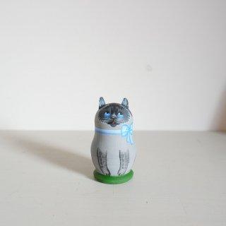 ニキーチン工房のマトリョーシカ 猫(グレー)