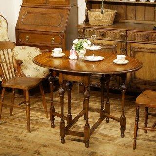 英国イギリスアンティーク家具 ゲートレッグテーブル バルボスレッグ オーク材総無垢 樫 9523