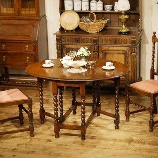 英国イギリスアンティーク家具 ゲートレッグテーブル ツイストレッグ オーク材総無垢 樫 民芸 9630