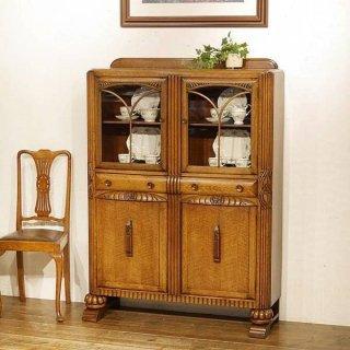 英国イギリスアンティーク家具 ブックケース キャビネット 書棚本棚   バルボスレッグ ブックシェルフ オーク材 9863W