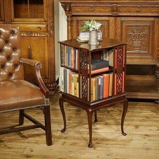 英国アンティーク家具 回転式 リボルビング ブックケース テーブル 1900年代 本棚 ブックシェルフ マホガニー材 9895