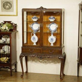 英国イギリスアンティーク家具 ディスプレイキャビネット ショーケース マホガニー材 9901