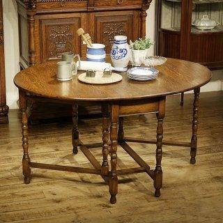 英国イギリスアンティーク家具  ゲートレッグテーブル ボビンレッグ オーク材総無垢 樫 9903W